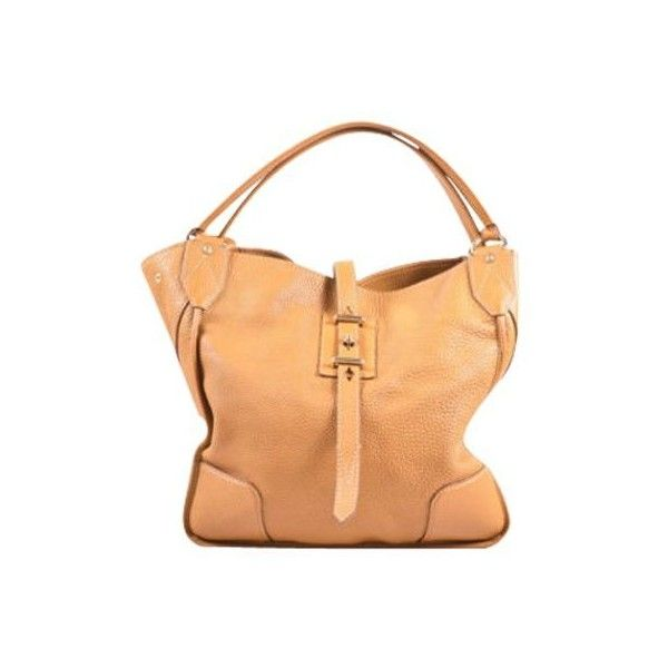 "Pre-Owned Belstaff $1495 Tan Pebbled Leather """"Nottingham 38""""Large... (1 400 BGN) ❤ liked on Polyvore featuring bags, handbags, brown, brown tote, brown tote handbags, hobo purses, pebbled-leather handbags and brown tote purse"