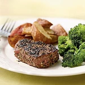 Filet mignon is extra delicious with a rub of herbs and garlic. Serve this quick-fix recipe with roasted red potato wedges and steamed broccoli florets.