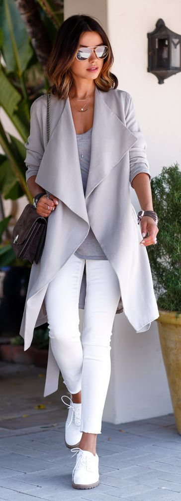 grey coat - love ALL of this!  Especially the shoes, which could pair with so…