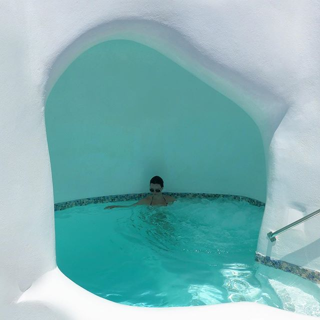 Enjoy moments of #relaxation on your #private #pool cave... #Santorini #ArtMaisons