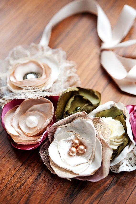 Cream Lace and Satin Fabric Bib Necklace by Suzanne Carillo