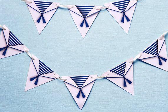 MINI BUNTING  Sailor theme - nautical theme - Party Decoration. Boys sailor suit.  White and blue.