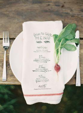 menu printed on a napkin via snippet & ink