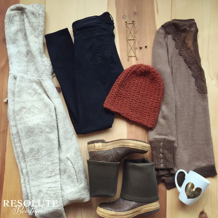 Southeast Alaska Fall essentials! Denim, xtratufs, cozy sweater, beanie, and coffee! Now this is Alaska Style.