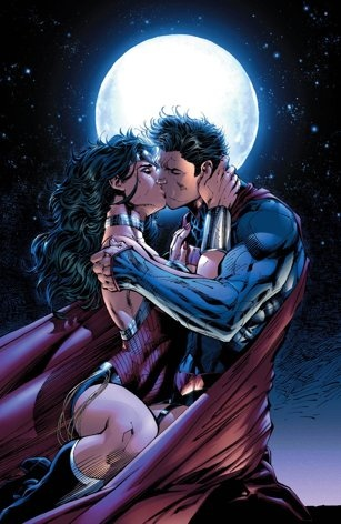 "This comic book image released by DC Entertainment shows Wonder Woman and Superman kissing from the ""Justice League 12"" issue. Wonder Woman and Superman are officially an item, locking lips in a passionate embrace as the pair realize that there's no one out there like them. The couple's kiss is the culmination of a dramatic story in ""Justice League"" No. 12 which marks the first full year since DC relaunched its stable of heroes with new stories, new costumes and revised origins. (AP Photo/DC…"