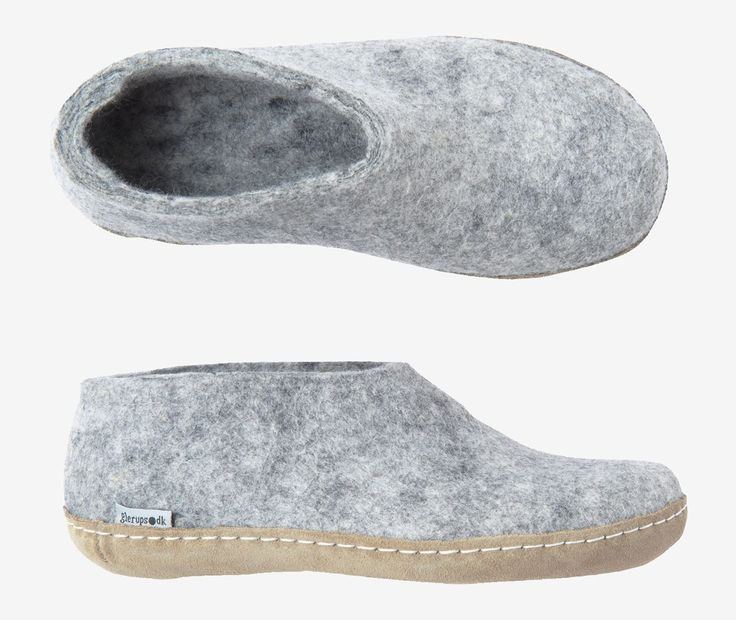 Sturdy Danish slipper in warm, thickly felted wool. Stitched on calf leather sole. Snug, lightweight and very well made.