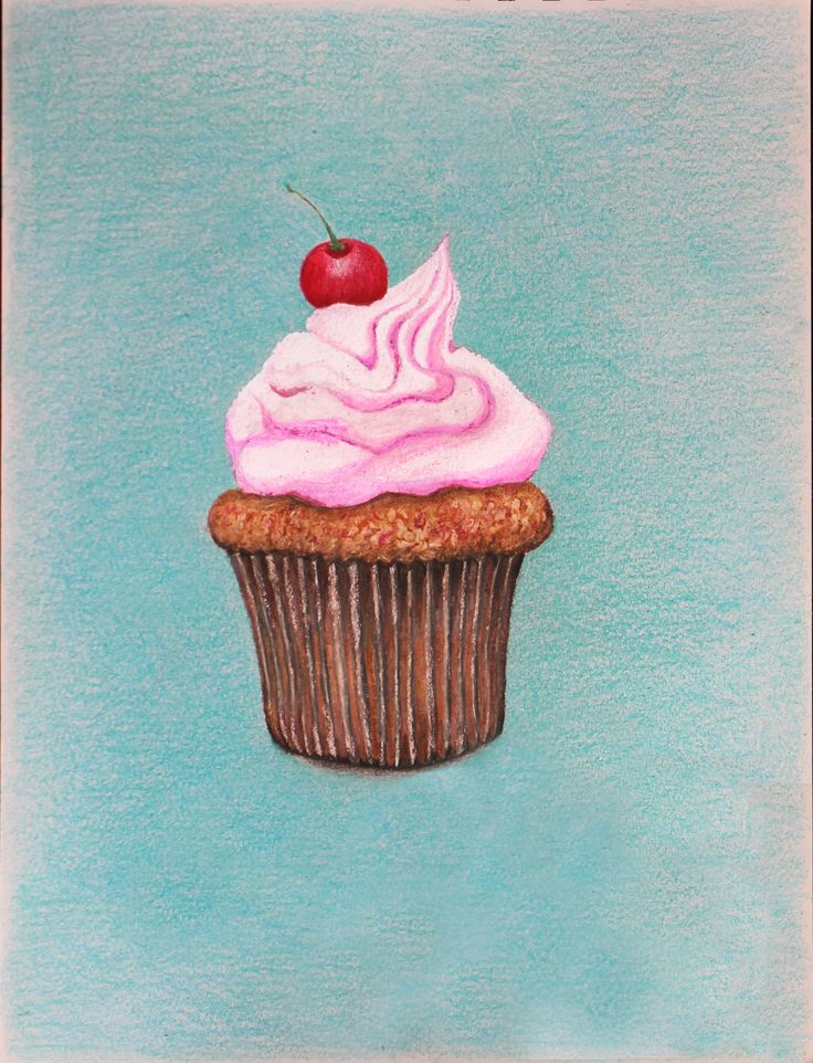 Cupcake drawing. Color pencils on paper. July, 2014.