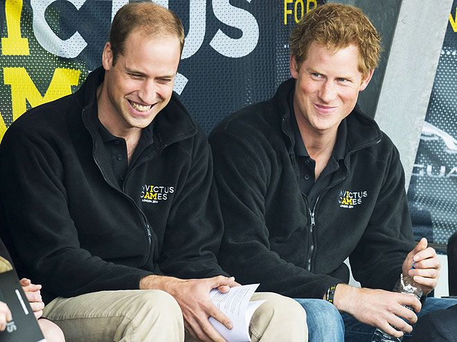 Inside joke, perhaps? Prince William and Prince Harry share sly smiles in London on Thursday morning during a service before the athletic events of Harry's Invictus Games.