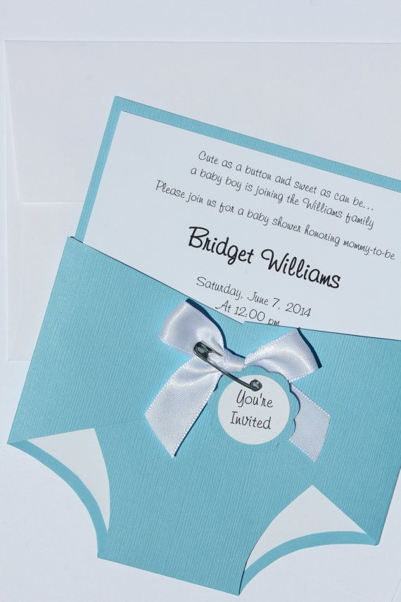 Baby Shower Diaper Invitation  Boy  Blue  Custom  by CraftedbyLizC