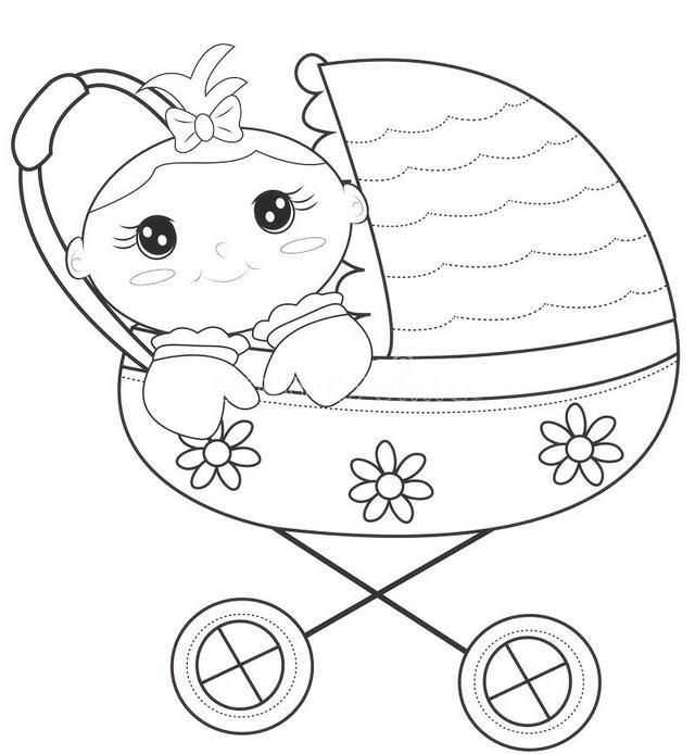 Cute Baby Stroller Carriage Coloring Page Dengan Gambar