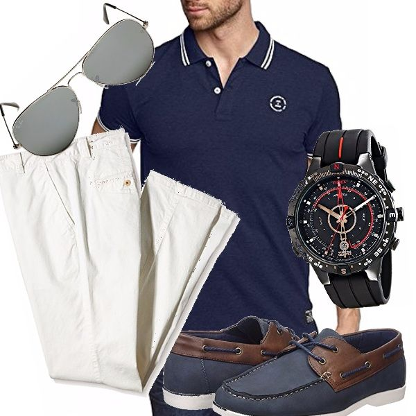 I colori di questo outfit già ci danno l'idea di un uomo che ama il mare, il bianco dei pantaloni ed il blu della polo somigliano tanto ai colori delle divise dei marinai, molto belle le scarpe da barca e gli accessori che completano l'outfit.