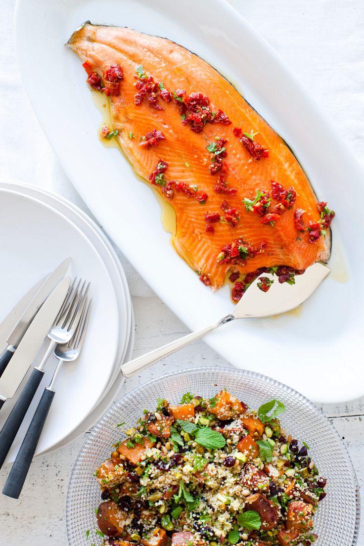 Christmas Regal King Salmon recipe with Celebration Couscous    #salmon #recipe #entertaining #healthy  http://www.regalsalmon.co.nz/recipes/christmas-regal-salmon-with-celebration-couscous
