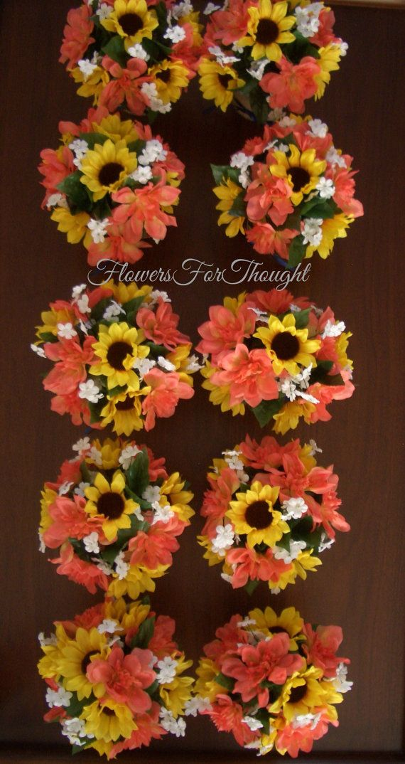 Sunflower Table Arrangements Wedding by FlowersForThought on Etsy