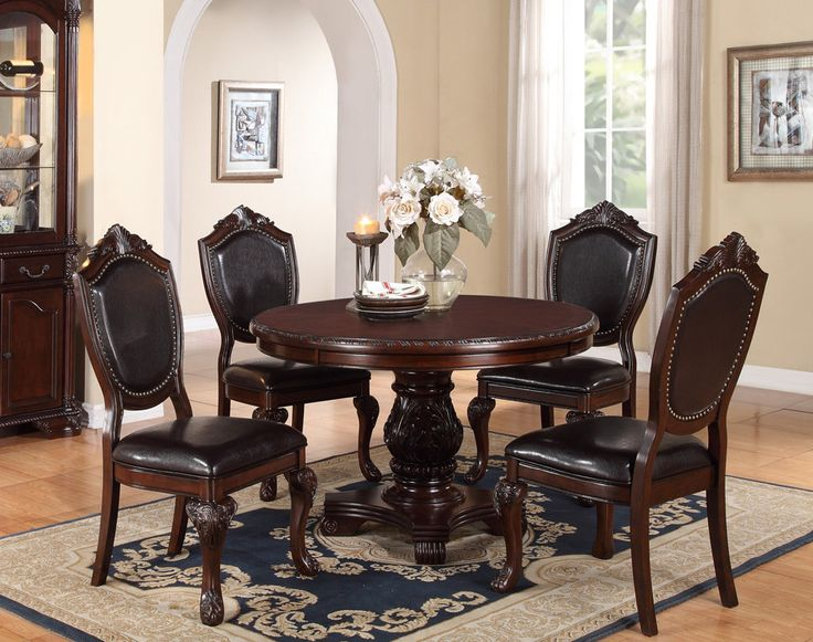 48 Quot Round Cherry Dining Table Set Poundex F2187 Cherries