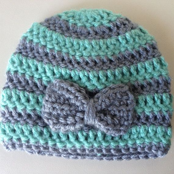 Baby girl Crochet Baby Hat- newborn mint and gray bow striped beanie custom colors via Etsy
