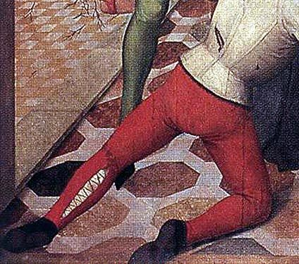 The only other theory that I have on such fitted legs is that the hose were sewn on daily at the back of the calf or spiral-laced, as suggested by the painting of the Master of the Lyversberg Passion here.