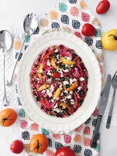Salade de couscous israélien aux betteraves, aux petits pois & au fromage feta – CUISINE ESTUDIANTINE