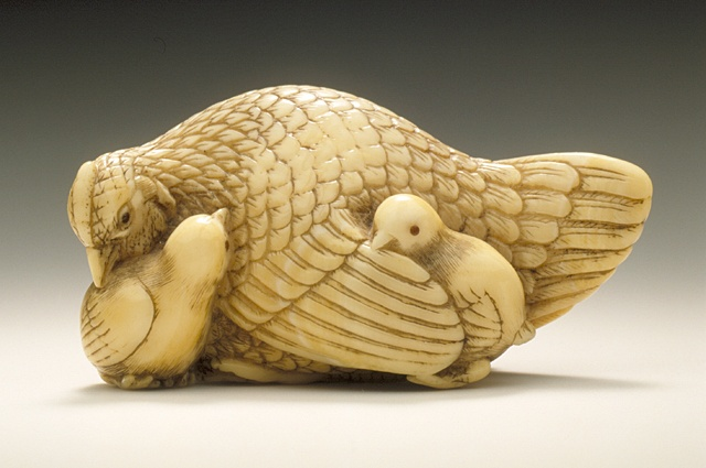 Yamaguchi Okatomo (Japan, active circa 1750 - active circa 1800) Chicken Group, mid- to late 18th century Netsuke, Ivory with staining, sumi, inlays