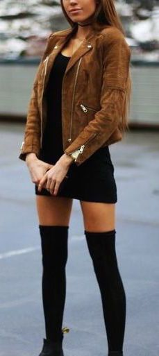 #fall #outfits / black dress + tan leather