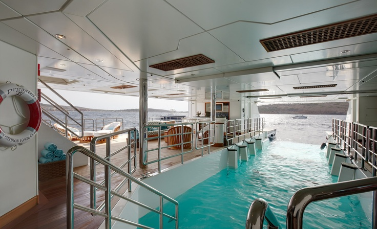 Wow! Indoor pool with a view. #yachtlife