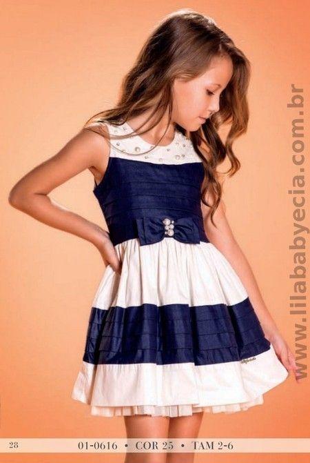 Vestido Infantil Marinho Diforini Moda Infanto Juvenil