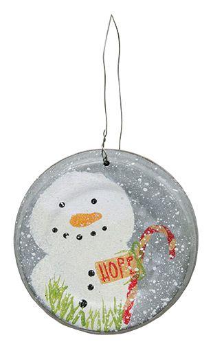 KP Creek Gifts - Hope Snowman Metal Lid Ornament