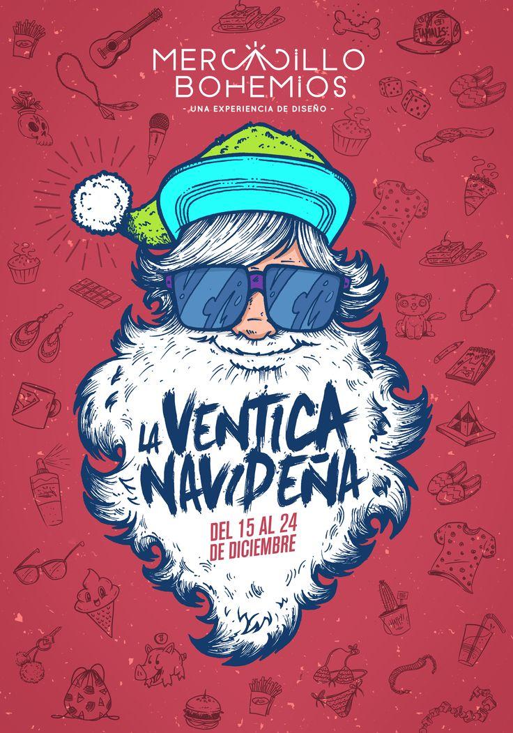 Illustration Poster Design / Mercadillo Bohemios > Versión Navidad