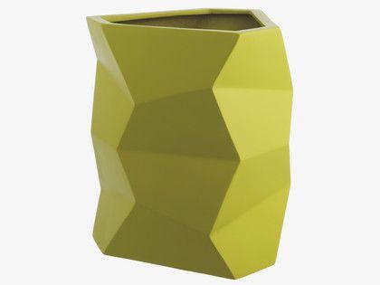 FACETED Fibreglass Tall saffron green fibreglass planter - HabitatUK