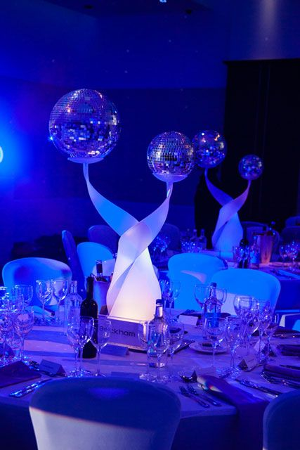 Quinceanera Centerpieces Blue Twisted Stand With Mir...