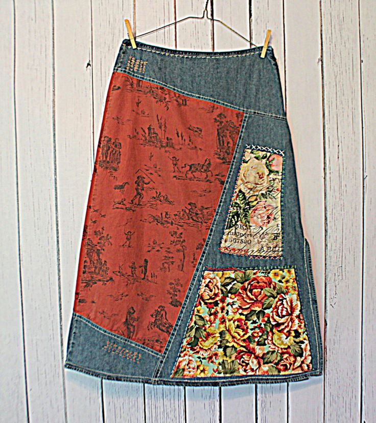 Denim Boho Hippie Funky Upcycled Maxi Skirt / Women's Clothing / Ladies Clothes / Upcycled Jean Skirt / Amadi Sloan Designs by AmadiSloanDesigns on Etsy