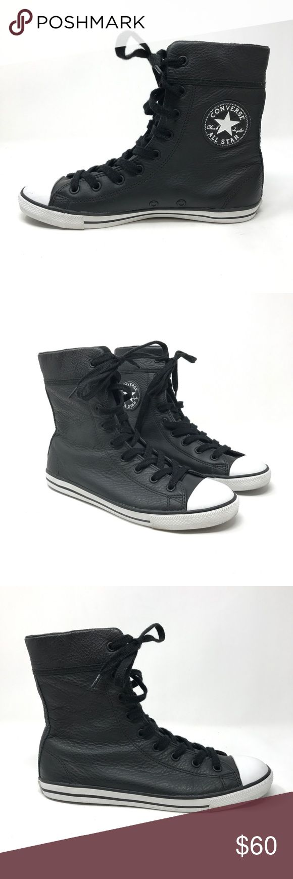 Converse Chuck Taylor Dainy Xhi Sz 7 Blk Leather Converse Chuck Taylor Dainy Xhi Sz 7 Blk Leather  Size: Women's Sz 7 Color: Black Style Name/Number: Chuck Taylor Dainy Xhi All Stars High Tops  In good preowned condition with no known flaws and light overall wear. Converse Shoes Sneakers