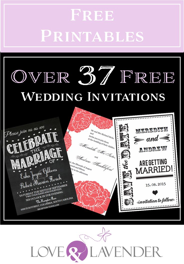 Over 37 FREE wedding printables including invitations and save-the-dates. #Freeprintables