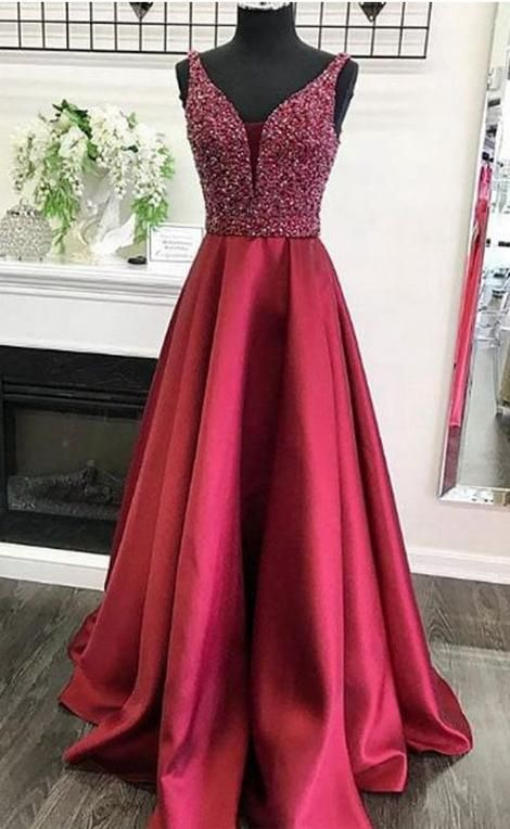 3f6af333b2d Beaded A-line Long Prom Dress School Dance Dress Fashion Winter Formal Dress  YDP0367