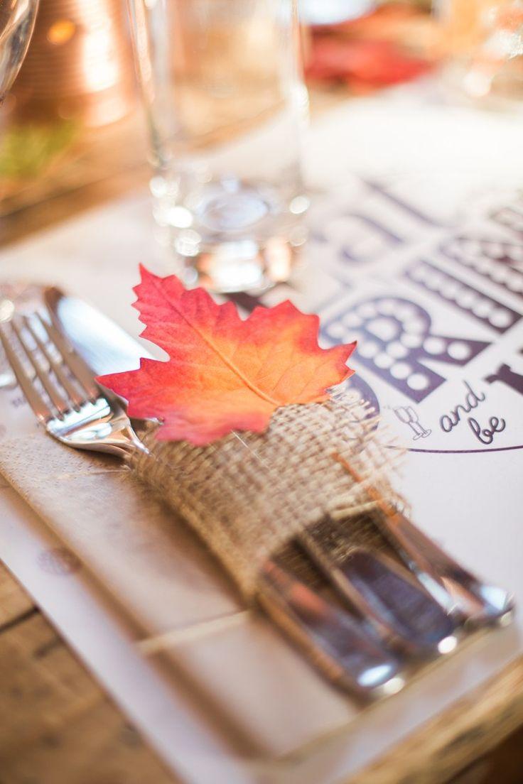 Leaf Hessian Cutlery Place Setting Rustic Autumn Halloween Wedding http://www.samrileyphotography.co.uk/