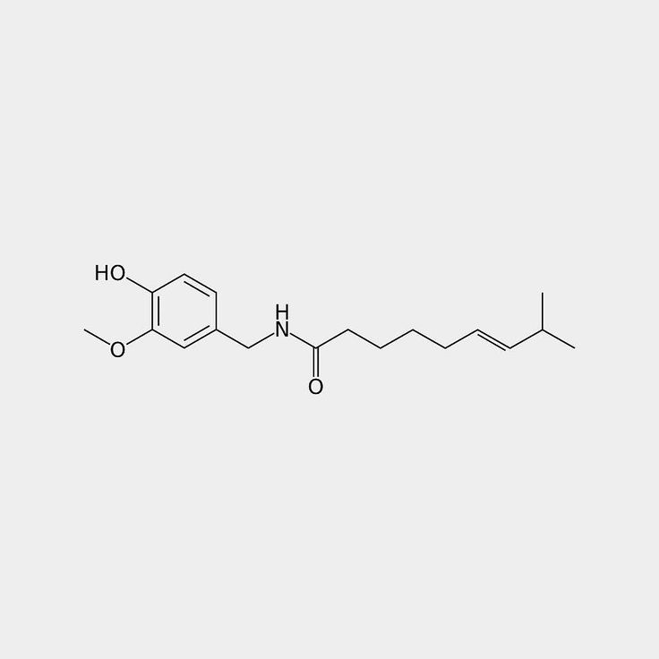 #Capsaicin (8-methyl-N-vanillyl-6-nonenamide) is an active component of chili peppers which are plants belonging to the genus #Capsicum. It is an irritant for mammals including humans and produces a sensation of #burning in any tissue with which it comes into contact. Capsaicin and several related compounds are called capsaicinoids and are produced as secondary metabolites by chili peppers probably as deterrents against certain mammals and fungi. Pure capsaicin is a hydrophobic colorless…