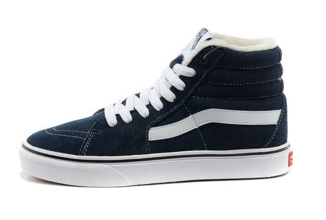 classic vans sk8 high off the wall navy suede pappus inside winter