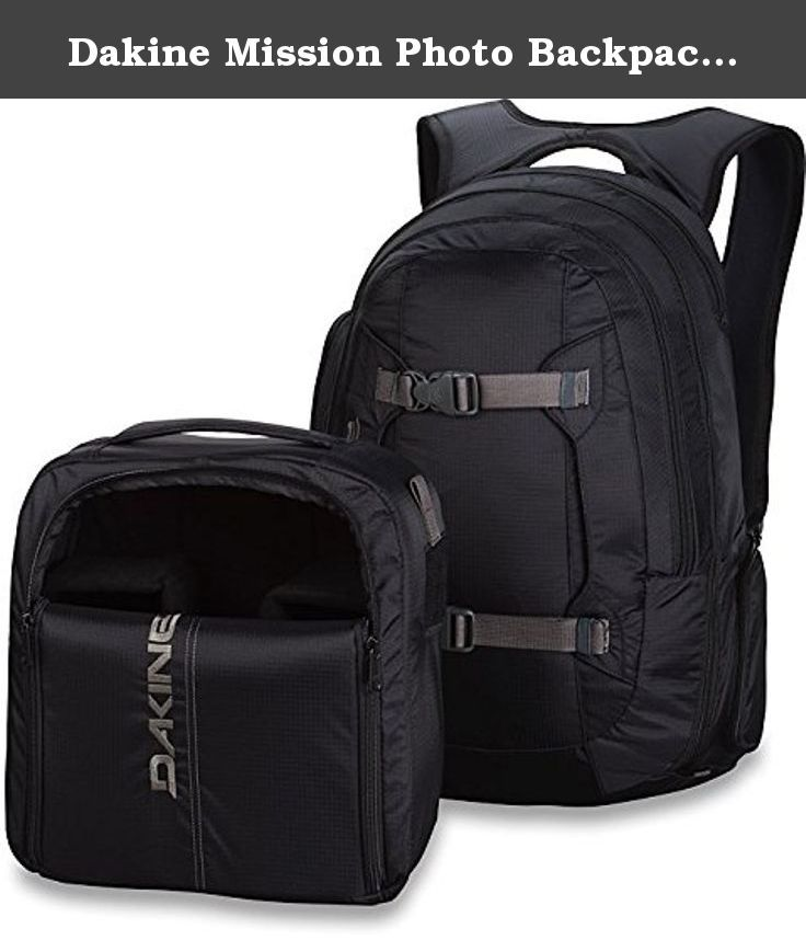 "Dakine Mission Photo Backpack, Black, 25 L. The Dakine Mission Photo 25L Pack keeps your camera stuff together. In Hawaiian slang, ""Da Kine"" means the best and the company has lived up to this standard through attention to detail, focus on accessories, and a notoriously thorough design process."