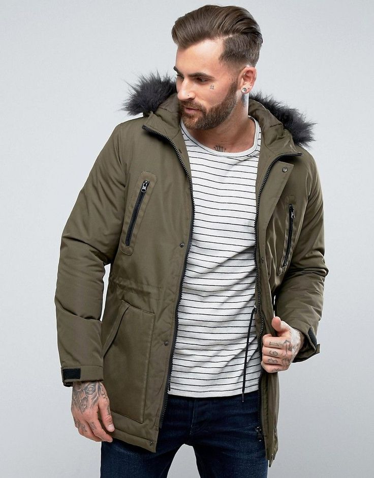 ASOS Parka Jacket with Faux Fur Trim in Khaki - Green