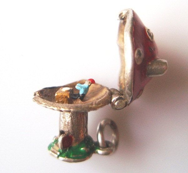 Vintage Silver Enamel Toadstool and Pixie Charm Opens