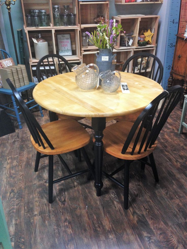 Hardwood And Black Dining Table