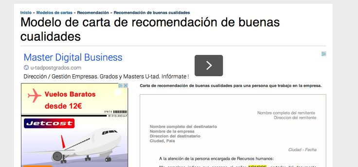 Carta de reocmendación  http://www.modelos-cartas.com/tipo/15_recomendacion/25_recomendacion-de-buenas-cualidades  http://www.modelo-carta.com/modelo-carta-recomendacion.html