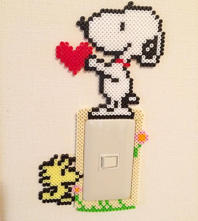 Snoopy light switch frame perler beads by ataru34