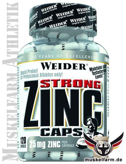 Weider Strong Zink Caps enthalten das sehr hochwertige Zinkcittrat in einer hohen Dosis, hochwertige Zinkverbindung, einfach zu dosierende Kapseln.