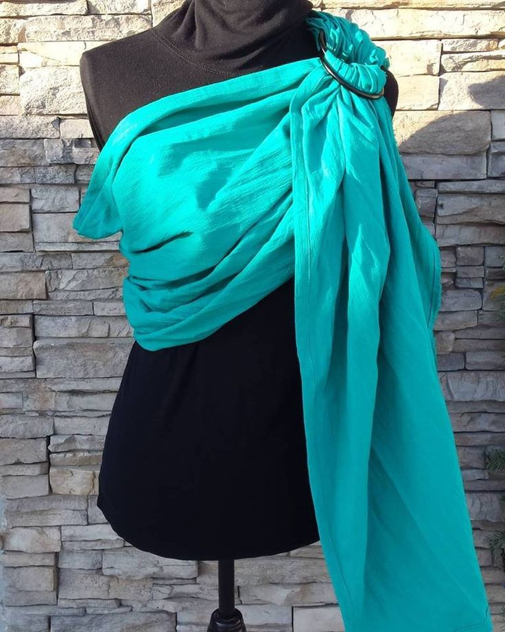 Baby ring sling, turquoise green cotton, French twill, slight stretch, limited edition by UchiWraps on Etsy