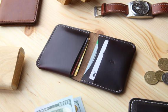 Personalized Mens Leather Wallet, Mens Bifold Wallet with 4 Pockets, Horween Chromexcel Leather