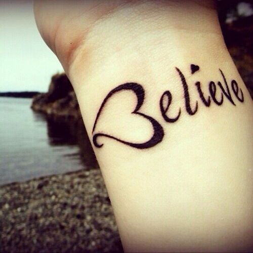 60 best tatouages images on pinterest tattoo ideas nice tattoos girl with a tattoo of the word believe with a heart for the letter b on thecheapjerseys Images