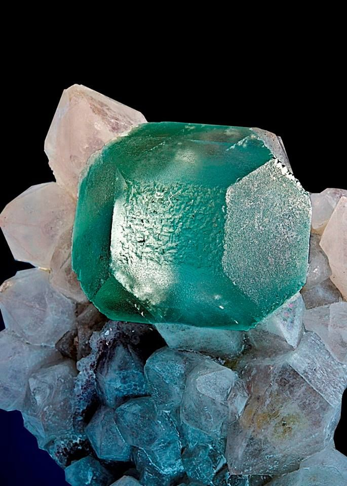 Octahedral crystal meets a cubic form in this modified fluorite perched on a cluster of milky quartz crystals. from Orange River, Northern Cape Province, South Africa