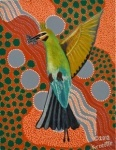 "Artist: 		KROCETTE    Title: 		""Rainbow Bee Eater In Flight""    Medium:	Acrylic on Canvas    Price: 		$SOLD  Size: 	355 x 280mm    Signed: 		KROCETTE 2012  Kidogo Art Institute - Gallery"