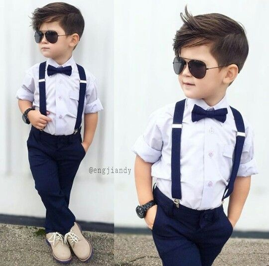 Stylish kids #boy ❤❤ Dress shirt, suspenders , and shades