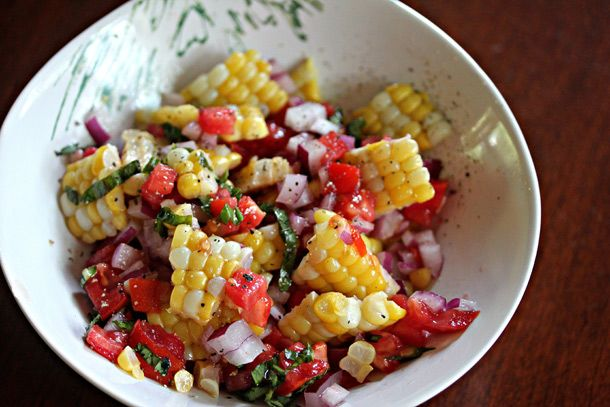 Unique Grilling: Grilled Corn Salad with Tomatoes, Basil and Crispin Cider Vinaigrette | Serious Eats